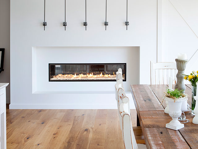double sided electric fireplace