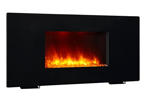 PuraFlame Galena Black 36 inch Remote Control Portable & Wall-mounted Flat Panel Fireplace Heater