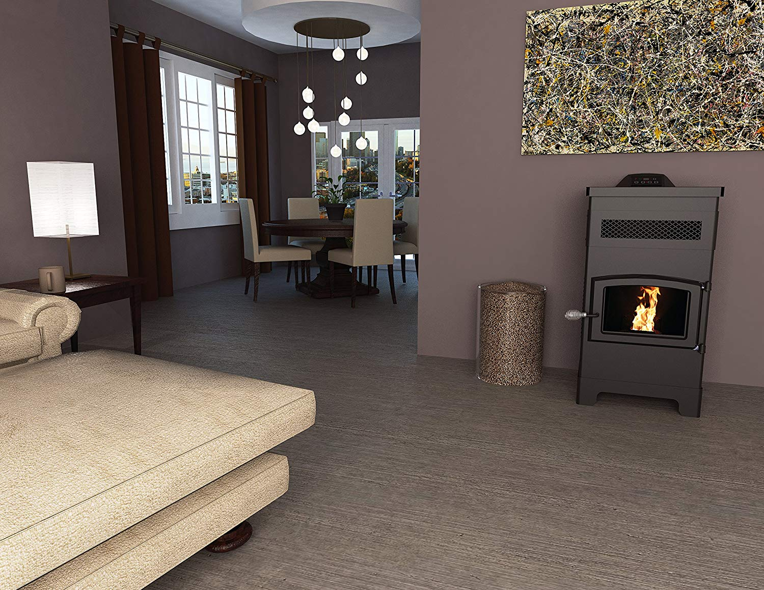 Vogelzang Pellet Stove near a couch